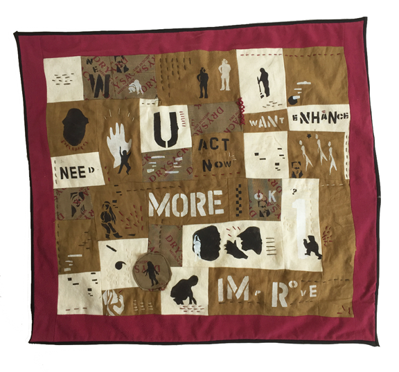 quilt with words and people