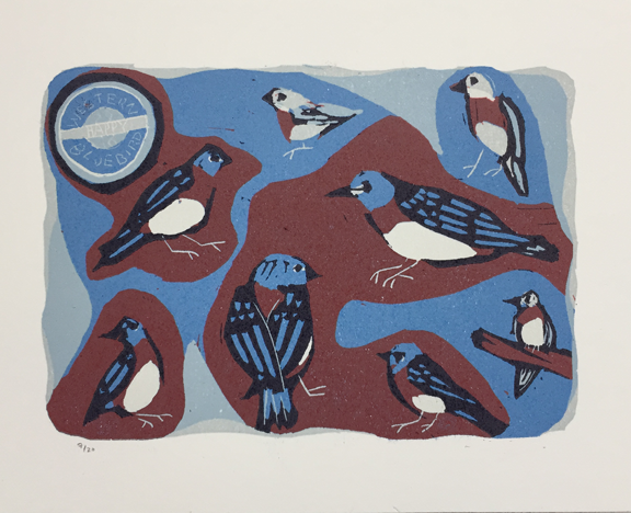print of several bluebirds in different sizes