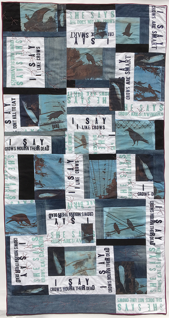 quilt with crow photos and text