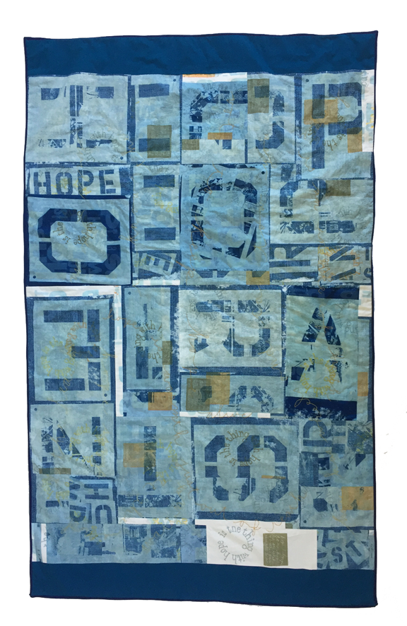 block quilt with each letter of the words hope rants