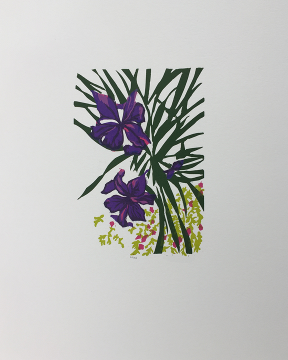 print of iris flowers and leaves