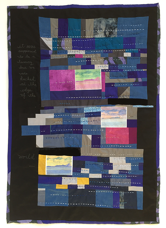 colorful pieced quilt with three photos of docked cruise ship from a distance