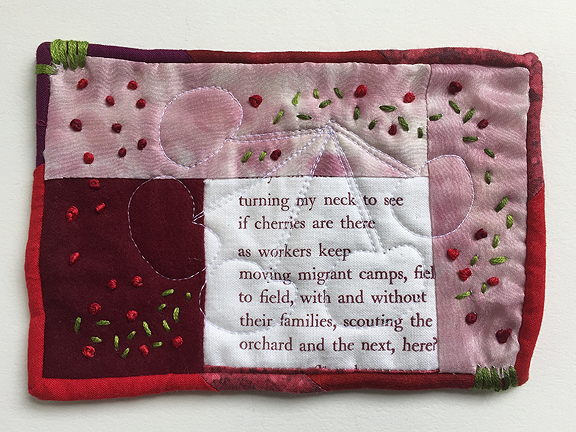 postcard-sized quilt with letterpress poem fragment and French knots