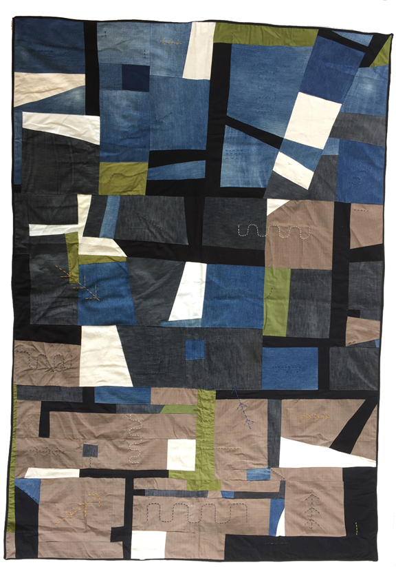 quilt made from denim with pipeline shapes