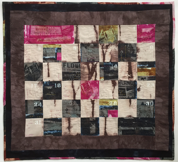 checkerboard quilt with numbers like a calendar and tie dye like trees interspersed with photos of warning signs