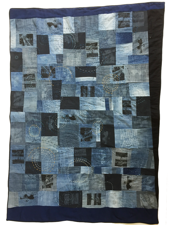 quilt made from denim with stitched ripples