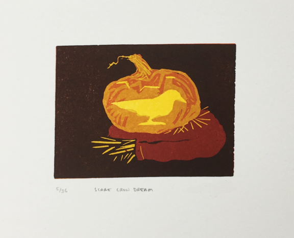 print of pumpkin carved with a crow resting on scarecrow arms