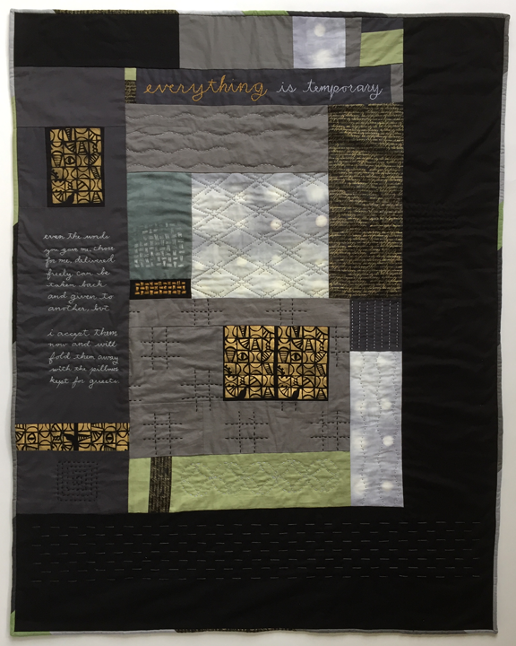 quilt with embroidered poem and mixed stitching